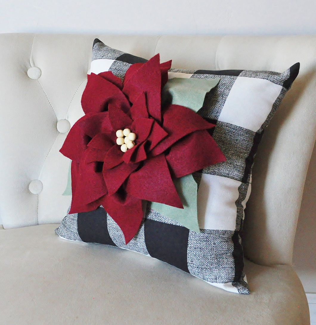 Cranberry Red Poinsettia on Buffalo Check Christmas Decor Pillow