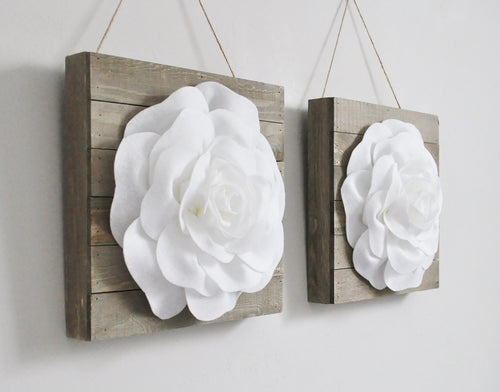 TWO White Roses on Farmhouse Wood Plank Wall Hangings