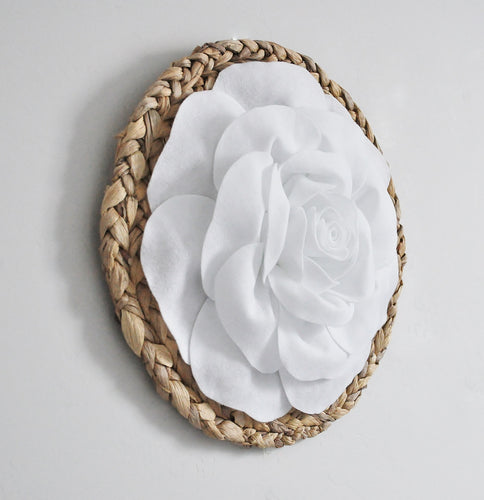White Rose on Round Basket weave Wall Decor