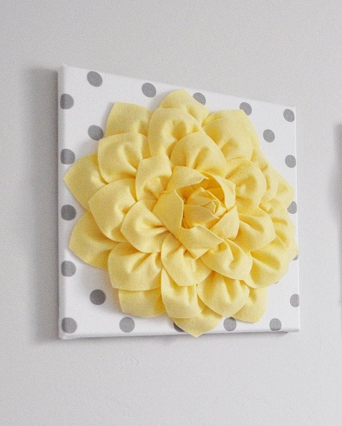 Light Yellow Dahlia on White with Gray Polka Dot Canvas - Daisy Manor