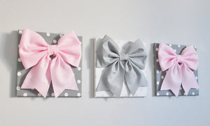 Light Pink and Gray Bow on Polka Dot Wall Decor - Daisy Manor