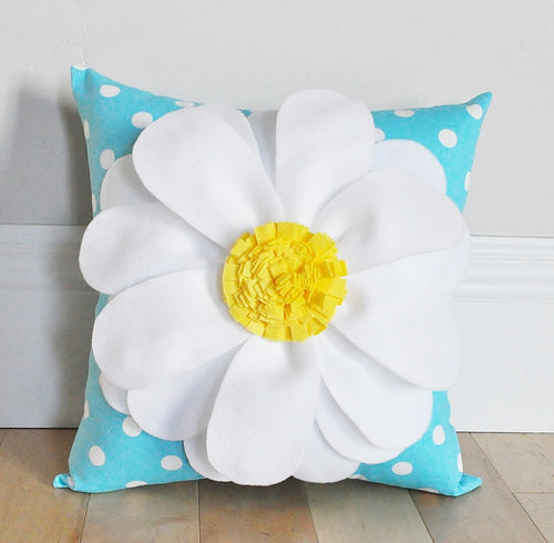 White Daisy with Yellow Center on Aqua with white polka dot