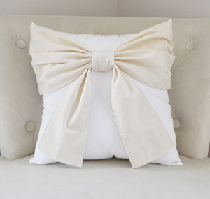 Decorative Ivory Bow Pillow Neutral Bow Tie Pillow - Daisy Manor