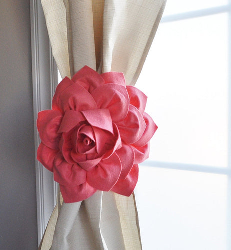 Coral Dahlia Curtain Ties - Daisy Manor