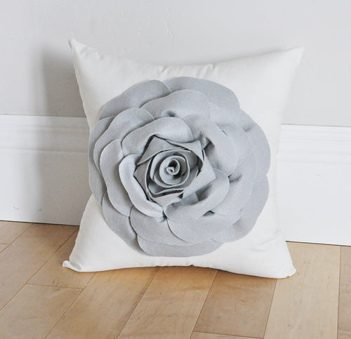 Grey Rose Flower on Ivory Pillow - Daisy Manor