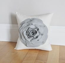 Load image into Gallery viewer, Grey Rose Flower on Ivory Pillow - Daisy Manor