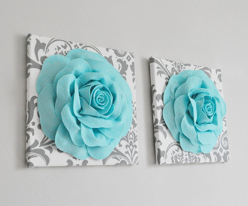 Three Dimenstional Aqua Roses on White with Gray Damask Wall Art Canvases