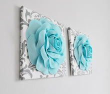 Load image into Gallery viewer, Slate Gray Roses on White and Gray Damask Canvas Wall Art - Daisy Manor