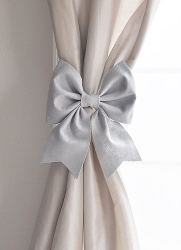 Grey Bow Curtain Tie Back Set - Daisy Manor