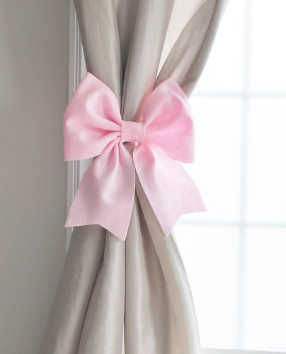 Light Pink Bow Curtain Tie Backs Nursery Curtain Holdbacks - Daisy Manor
