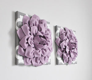 Lilac Dahlia flowers on Moroccan Canvas Art - Daisy Manor