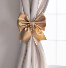 Load image into Gallery viewer, Silver Bow Curtain Tie Backs - Daisy Manor