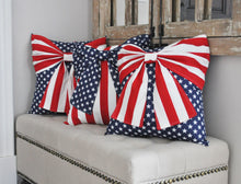 Load image into Gallery viewer, Stars and Stripes Patriotic Bow Pillow - Daisy Manor