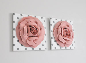 Blush Rose Flower Wall Decor Nursery Set of Two - Daisy Manor