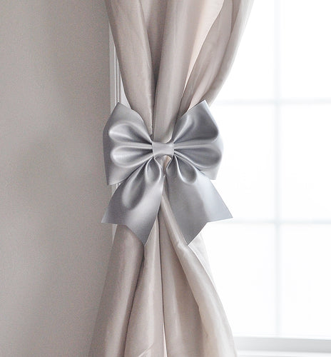 Silver Bow Curtain Tie Backs - Daisy Manor