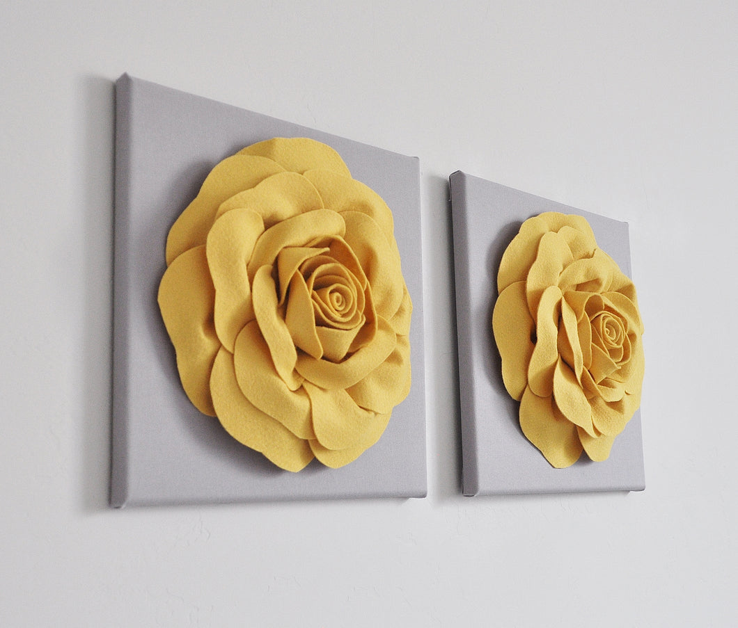Mellow Yellow Rose Flower Wall Decor Set of Two - Daisy Manor