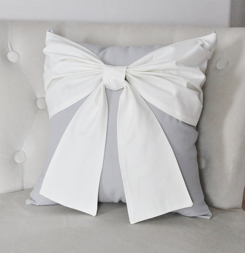Ivory and Gray Farmhouse Bow Throw Pillow - Daisy Manor