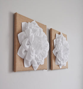 Floral Burlap Wall Decor Canvas Wall Set - Daisy Manor