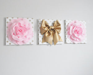 Light Pink Rose and Gold Bow Wall Decor Set of Three - Daisy Manor
