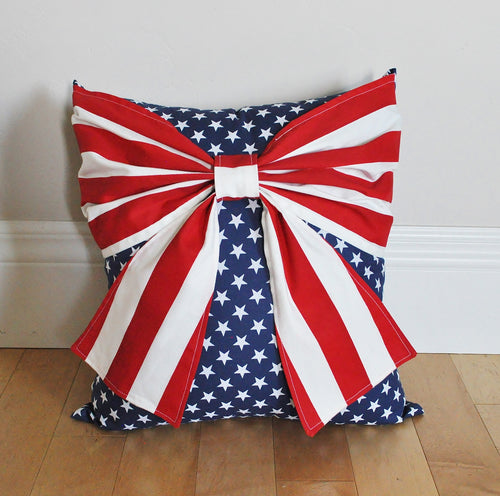 Stars and Stripes Patriotic Bow Pillow - Daisy Manor