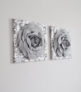 Flower Wall Decor Aqua Blue and White Damask Canvas Set - Daisy Manor