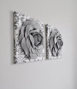 Gray Roses on White Gray Damask Wall Art Canvas Wall Art Sets - Daisy Manor