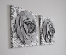 Load image into Gallery viewer, Gray Roses on White Gray Damask Wall Art Canvas Wall Art Sets - Daisy Manor