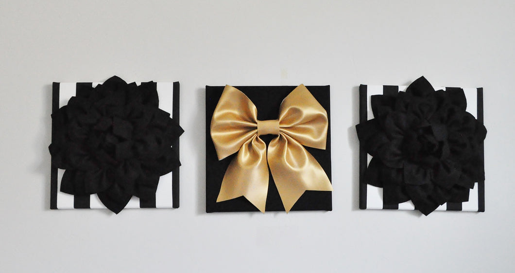 Flower and Bow Wall Canvas Set in Black White and Gold - Daisy Manor