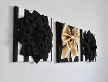 Load image into Gallery viewer, Flower and Bow Wall Canvas Set in Black White and Gold - Daisy Manor