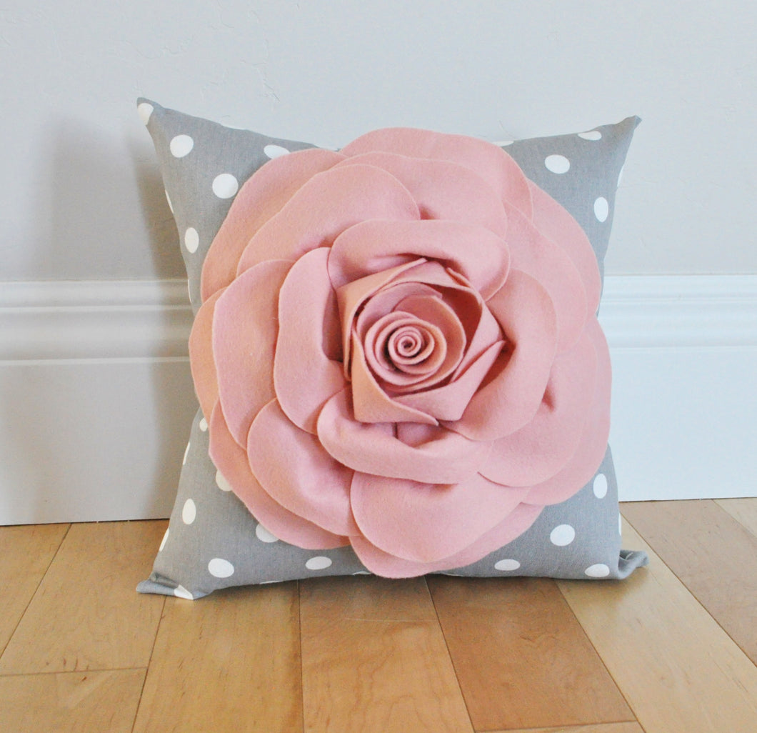 Blush Pink Rose on Gray Polka Dot Pillow - Daisy Manor