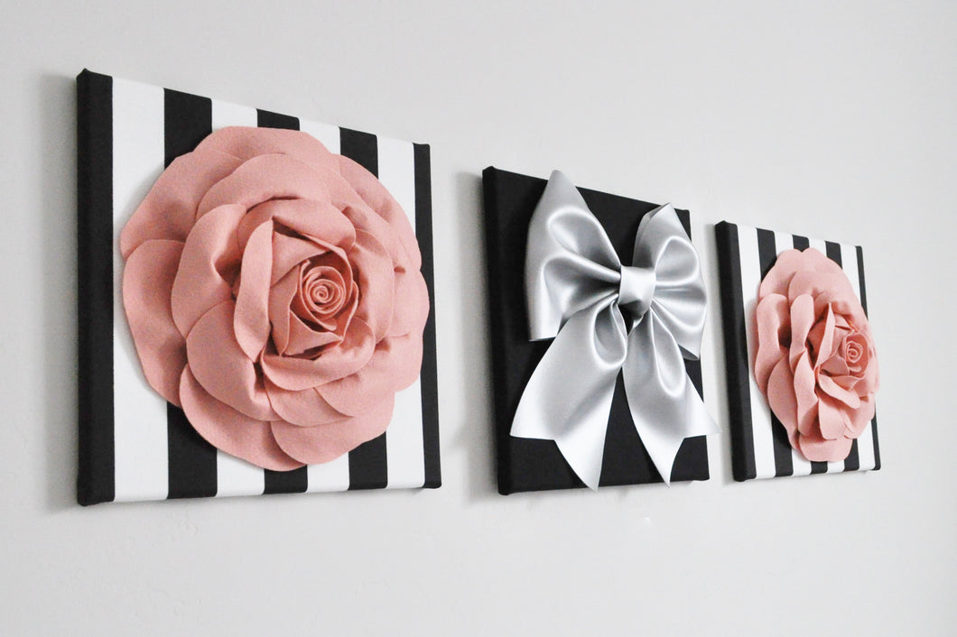 Blush Roses and Silver Bow Black Stripes Floral Home Decor Set - Daisy Manor
