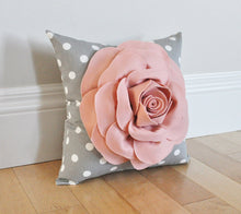 Load image into Gallery viewer, Blush Pink Rose on Gray Polka Dot Pillow - Daisy Manor