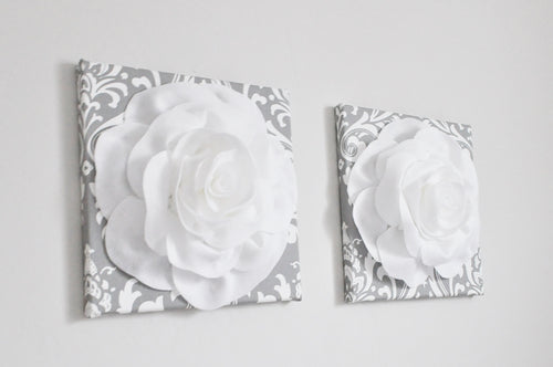 White Roses on Gray and White Damask Canvas set of two - Daisy Manor