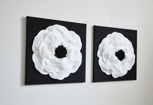 White and Black Poppy Wall Art Set of Two - Daisy Manor