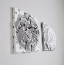 Load image into Gallery viewer, Gray and White Flower Nursery Wall Art Set - Daisy Manor