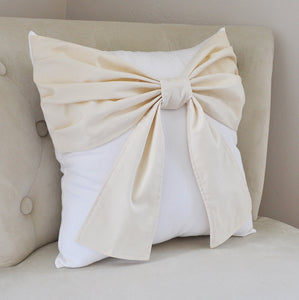 Ivory Bow on White Throw Pillow - Daisy Manor