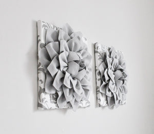 Silver Gray Dahlia Flowers on White Gray Damask Canvas Set of TWO - Daisy Manor