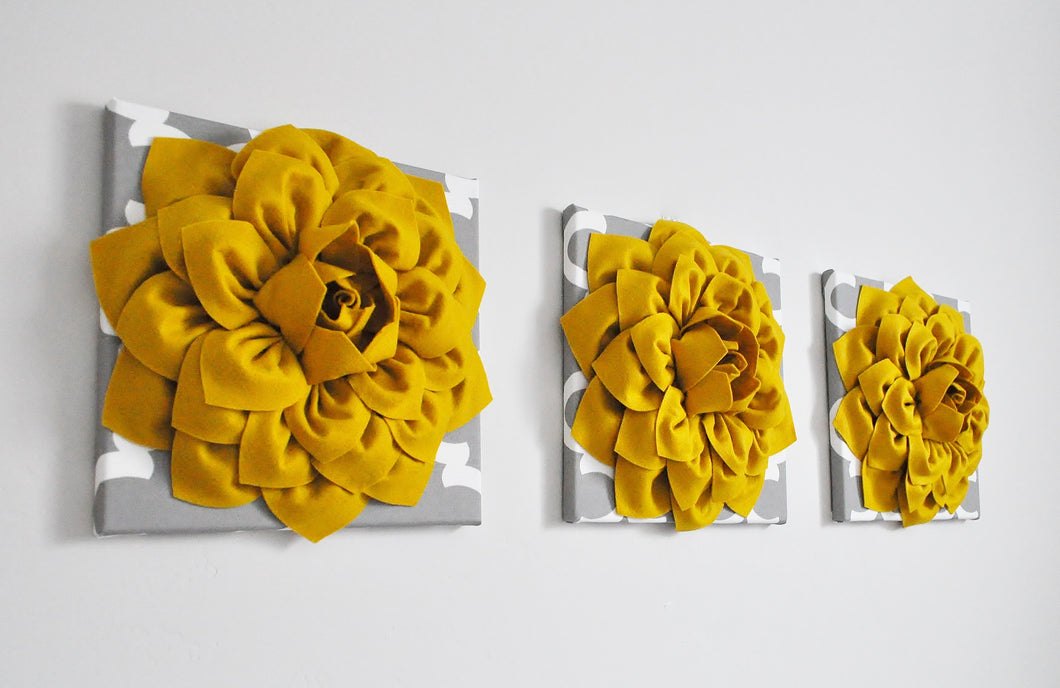Mustard Dahlia Flowers on Gray Moroccan Canvases