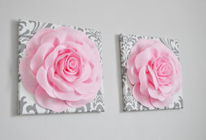 Sugar Plum Rose Wall Canvas Set of Two - Daisy Manor