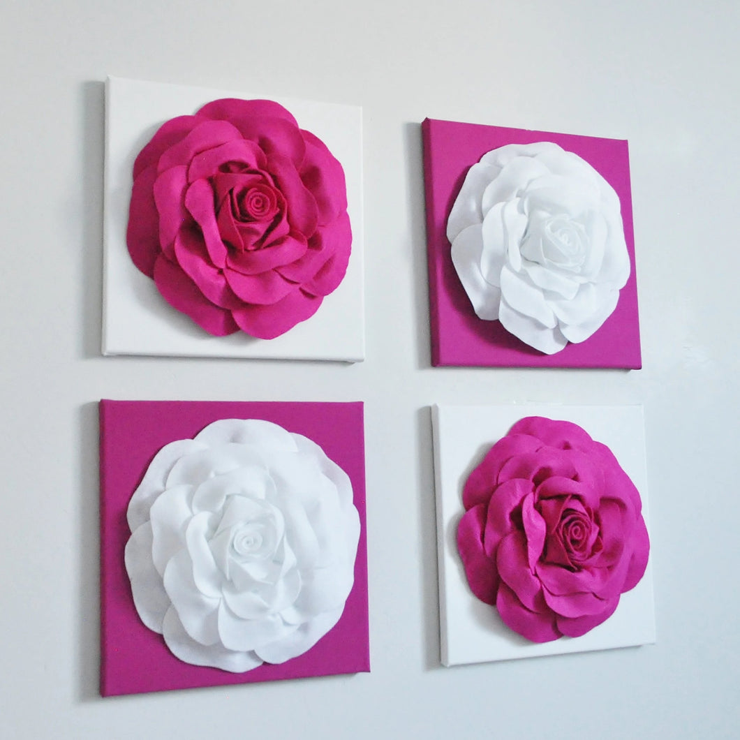 Wall Flowers Set of Four with Roses - Daisy Manor