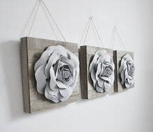 Load image into Gallery viewer, Three Grey Roses on Reclaimed Wooden Wall Plank Set - Daisy Manor