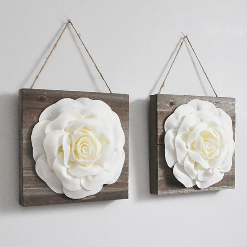 Ivory Roses on Wood Wall Art Floral Wood Wall Decor - Daisy Manor