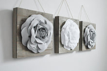 Load image into Gallery viewer, Dark Blush and Ivory Three Rose Flower Wood Plank Wall Hanging Set - Daisy Manor