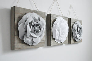 Dark Blush and Ivory Three Rose Flower Wood Plank Wall Hanging Set - Daisy Manor