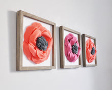 Load image into Gallery viewer, Framed Flower Wall Art Set of Three 3d Poppy Flowers - Daisy Manor
