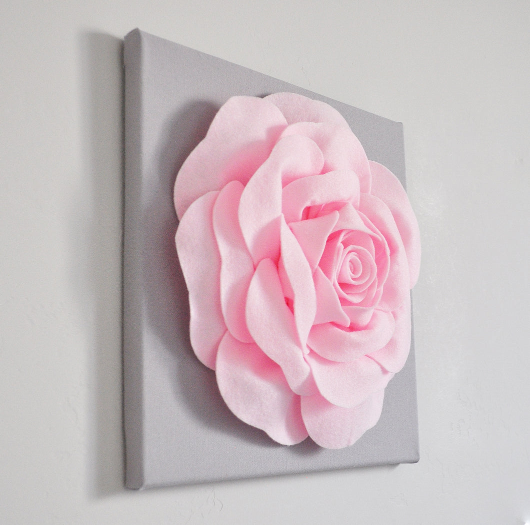 Light Pink Rose on Gray Canvas - Daisy Manor