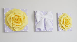 Yellow Roses and White Bow on Lilac Canvases - Daisy Manor