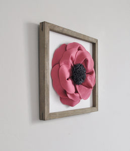 Dark Blush Poppy Flower Farmhouse Framed Wall Art - Daisy Manor