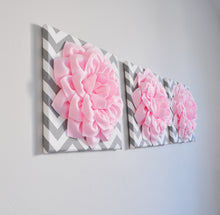 Load image into Gallery viewer, Light Pink Dahlia Flowers on Gray and White Chevron Canvas Set of Three - Daisy Manor