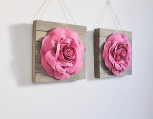 Lavender Roses on Wood Plank Wall Hanging Set of Two - Daisy Manor